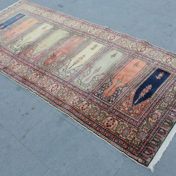 "Vintage Turkish Runner Rug, Ottoman Handmade Decorative Oushak Carpet Rug, Anatolian Home Decor Hallway Rug, 230x97cm, 92""x39"""