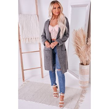 Just Visiting Open Front Cardigan (Charcoal)