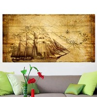 Wall Art Home Decor no Frame large Old Boat maps of the world Poster Oil Painting on Canvas for Living Room Office Bedroom