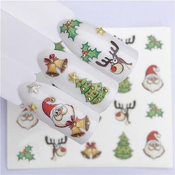 Nail Art sticker Christmas Water Decal Santa Claus Snowman