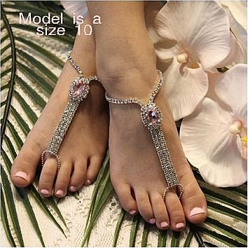 FLOWER GIRL  rhinestone barefoot sandals - pink
