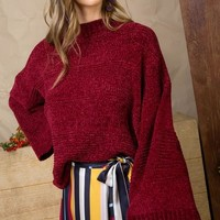 Chenille Bell Sleeve Sweater