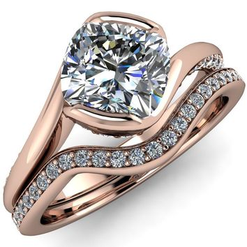 Dietrich Cushion Moissanite Bypass Side Shank Diamonds Engagement Ring