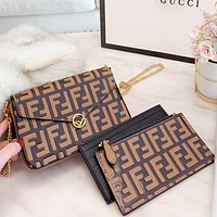 Hipgirls Fendi New fashion more letter leather chain shopping leisure shoulder bag crossbody bag handbag three piece suit