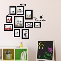 """23.6"""" X 28.7"""" Living Room Children's Bedroom Decoration Sofa TV Background Wall Decal Black Photo Picture Frame Tree Birds Vine Wall Decor Decal Sticker Vinyl Lettering Wall Sayings Home Art Decor"""