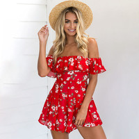 Red Floral Print Off The Shoulder Chiffon Romper