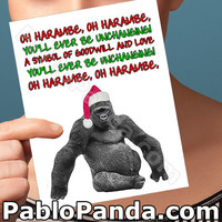 Funny Christmas Card   Harambe   Funny Holiday Cards For Husband Husband Meme Gift For Men Funny Meme Fancy Handmade Card Gorilla Zoo Card