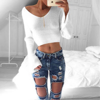 New winter bottoming shirt female lo shi short paragraph V-neck strapless sweater knit