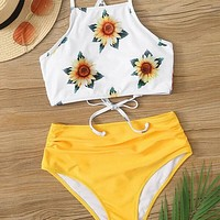 Sunflower Lace Up Back High Waist Bikini Swimsuit