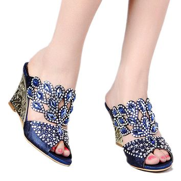 Sandals,women sandals,news styles peacock thick thin wedges heel genuine leather rhinestone female sandals women shoes GS-T018