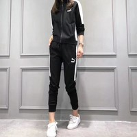 """Puma"" Women Fashion Casual Multicolor Long Sleeve Zip Cardigan Coat Trousers Set Two-Piece Sportswear"