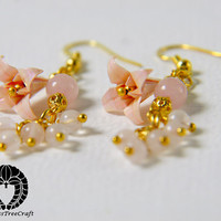 Origami Jewelry, Origami Earrings, Baby Pink Lilies
