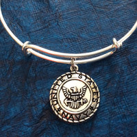 Navy Expandable Charm Bracelet Adjustable Bangle Gift USA Military Jewelry