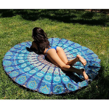 Indian Mandala Round Roundie Beach Throw Mat Tapestry Hippy Hippie Boho Gypsy Cotton Tablecloth Beach Towel , Round Yoga Mat , Wall Hanging