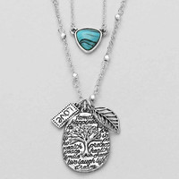 Silver Turquoise Love Live Laugh Tree Of Life Necklace