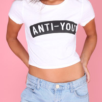 Anti-You White Graphic Crop Top