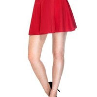 Simplicity Women's High Waisted Stretchy Flared Mini Pleated Skirt, Red, S