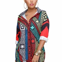 Ethnic Multicolor Printed Shirt Dress