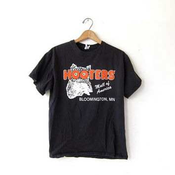Vintage Black HOOTERS TShirt. Grunge Shirt. Faded Out Tee Shirt.
