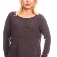 CHARCOAL LONG SLEEVE ZIPPER DESIGN KNITTED PULL OVER SWEATER