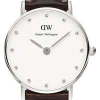Women's Daniel Wellington 'Classy Bristol' Crystal Index Leather Strap Watch, 26mm