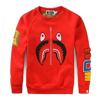 BAPE 2018 autumn and winter new round neck camouflage shark sweater F-A-KSFZ red