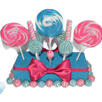 Hot Pink and Turquoise Candy Centerpiece, Baby Shower, Centerpiece, Lollipop, Candy, Candy Buffet, Pink, Blue, Sweet Sixteen, Quinceanera