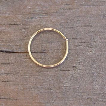 12K Gold Filled Nose Ring - 22 Gauge High Quality Nose Hoop Gold Wire Pierced Loop Thin Small  Nose Cuff
