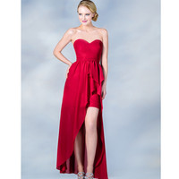 2013 Prom Dresses- Red High-Low Strapless Chiffon Prom Dress - Unique Vintage - Cocktail, Pinup, Holiday & Prom Dresses.