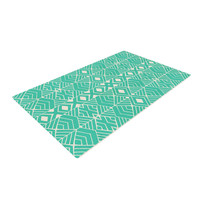"""Pom Graphic Design """"Going Native"""" Teal Woven Area Rug"""