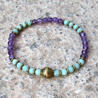 Communication and Healing, fine faceted amethyst and amazonite bracelet with African trade beads