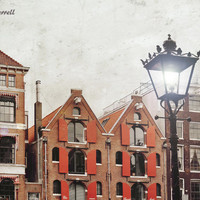 City Lights, Lamp Post Light, Amsterdam Photography, Architectural Print, Europe Photography, Red Orange Brown Large Wall Art