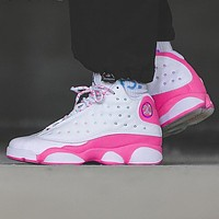 "Air Jordan 13 AJ 13 Retro ""Atmosphere Grey"" Women's Combat Basketball Shoes White Pink"