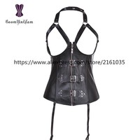 820# Cupless Corset Steampunk corsets Exposed chest Slimming Appliques Shapewear Black Bodysuit leather sexy corset