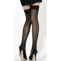 Hot 2016 New Fashion Sexy Women Ladies Heel Seamed Seam Striped Knee Thigh High Stockings Hose Long Lingerie stockings Z1