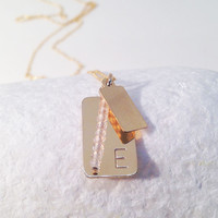Birthstone Initial Tag Necklace