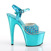 """Adore 709MMRS Turquoise Mermaid Scale Platform 7"""" High Heel Shoes"""