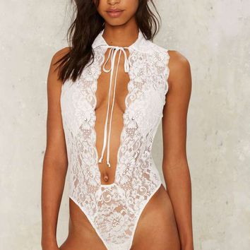 Hot as Hell Make It Snappy Lace Bodysuit - White