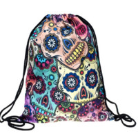 Colorful Day of the Dead Skulls Print Drawstring Bag