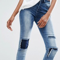 Noisy May Tall Lucy Distressed Patchwork Jean