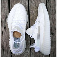 Adidas Yeezy Boost 350 V2 Popular Women Men Breathable Sport Running Shoes Sneakers White