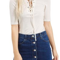 Topshop Lace-Up Short Sleeve Top | Nordstrom