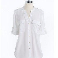 Calvin Klein Collarless Roll-Tab Button-Down Blouse
