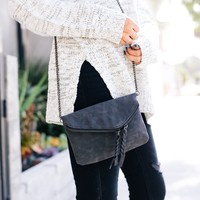Suede Braid Clutch Handbag in Charcoal