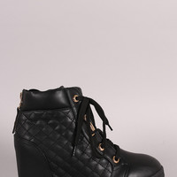 Zipper Quilted High Top Lace Up Wedge Sneaker