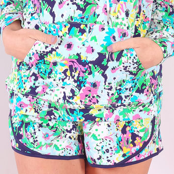 Get Fit Green Floral Shorts