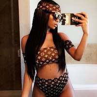 LV BIKINI Louis Vuitton Coffee Two Piece Off Shoulder High Waist Swimming B-AK-LCON Coffee