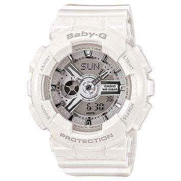 Casio Ladies Baby-G - Metallic Silver Face & White Strap & Case - Analog-Digital