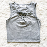A Lace Up Crop in Heather Grey