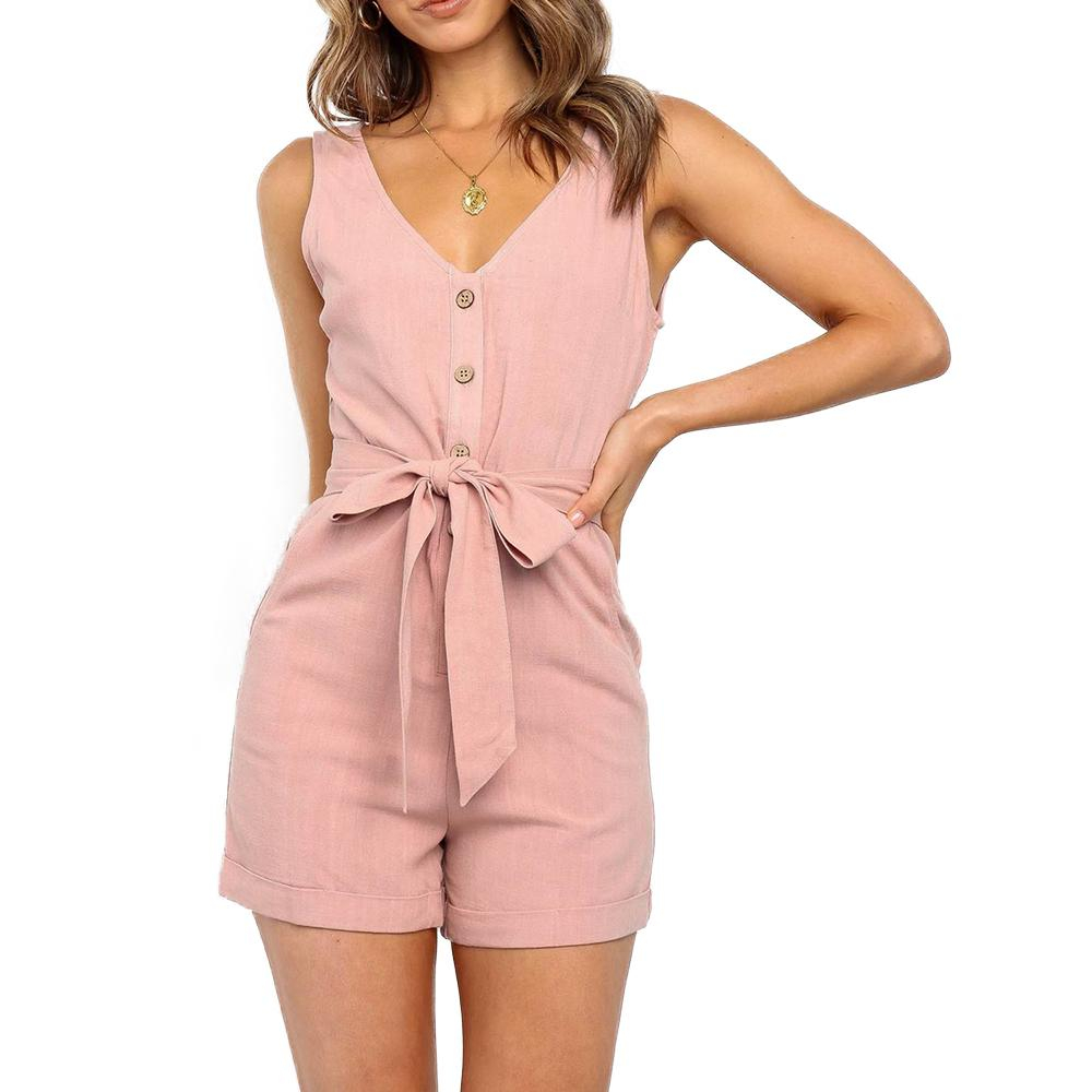 Image of Casual Playsuits Women Solid High Fashion Beach Romper Playsuits Button Playsuit Rompers